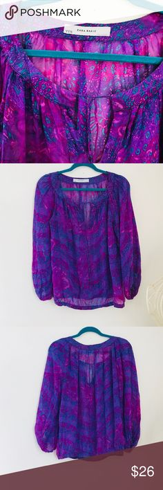 Zara Basic sheer silk blouse Thank you for checking out my listing! 🌸  Pre worn, excellent condition, no flaws. Non smoker.  This top makes a pop to any outfit, the colors are so unique and bright!   Feel free to ask questions! Zara Tops Blouses
