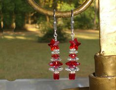 Christmas Tree Star Red Crystal AB Earrings Made With Swarovski Elements