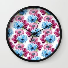 #flowers #floral #pink #blue #colorful #woman #girly #pretty #shabby #spring #wallclock available in different #homedecor products. Check more at society6.com/julianarw