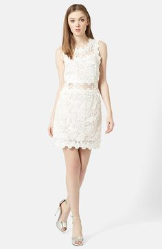 Scallop Lace Dress at Nordstrom.com. A sleeveless dress bedecked with white embroidered lace is fitted at the bodice and waist while sheer illusion insets and scalloped edges complete the pristine look.