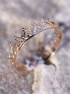 14K Solid Gold Crown Ring Princess Ring for the flower girls gift