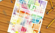 acquerello adesivi planner arcobaleno fairy kei macchie stampare agenda plan…