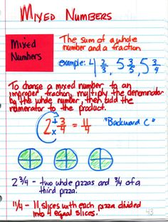 """""""Backwards C"""" - to change mixed number to an improper fraction"""
