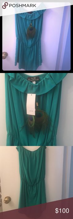 Karina Grimaldi Small Teal Romper Never worn, new with tags, strapless Romper 100% silk. With two peacock feathers. Color is best described as teal. Karina Grimaldi Other