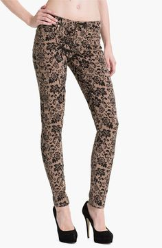 Paige 'Verdugo' Print Skinny Jeans (Chai/Black) available at #Nordstrom