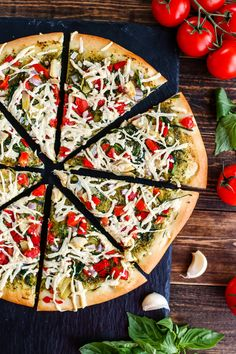 Vegan Mediterranean Pesto Pizza - ilovevegan.com