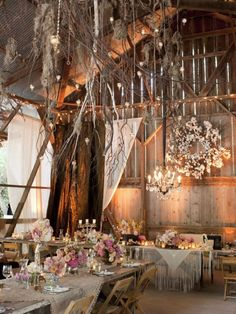 The Reception [decor]: rustic | vintage | purple |  chandeliers | wood | long tables | (overall presentation/design)