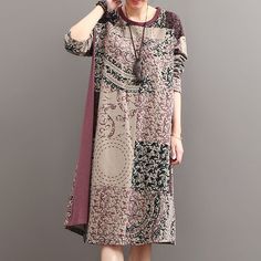 Autumn Ethnic Retro Print Stitching Floral Dress