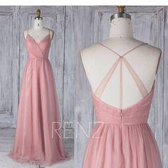 2017 Dusty Pink Tulle Bridesmaid DressV Neck Ruche Wedding