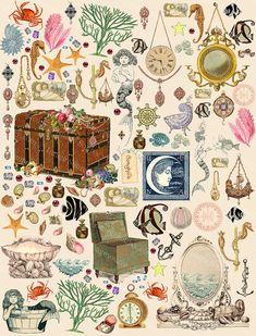 Digital Scrapbook Papier, Meerjungfrauen Schätze, Fantasy Collage Sheet, Schmuck, Perlen, Meerjungfrauen Sammlung sofortigen Download Ausdrucke