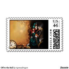 Off to the Ball Postage Stamp #steampunk