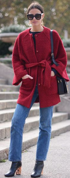 Red Coat On Denim Fall Street Style Inspo by Fashionvibe