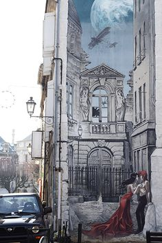 "Fresque de 'Sambre', à Angouleme, France. Ma BD preferee. / fresco of my favourite comics series ""Sambre"". Left all my books in France *sigh*"
