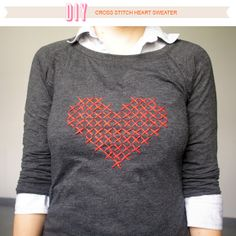 DIY cross stitch heart shirt with free pattern - cheap to make and looks pretty easy!