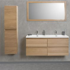 Double vanity unit Abeas 4 drawers Natural oak promo price Aline bathroom furniture € Source by iziva White Bathroom Cabinets, Ikea Bathroom, Bathroom Furniture, Bathroom Renos, Furniture Storage, Bathrooms, Very Small Bathroom, Bathroom Design Small, Modern Bathroom