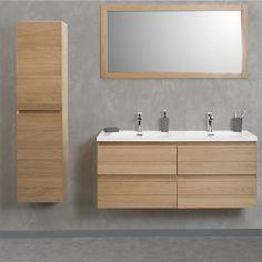 Abeas Meuble sous vasque double 120cm 4 tiroirs + vasque double en résine blanche
