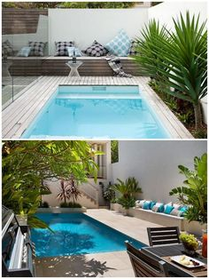 GabiLio Home and Garden: Modern swimming pools for small back gardens. Small Swimming Pools, Small Backyard Pools, Backyard Pool Designs, Small Pools, Swimming Pool Designs, Outdoor Pool, Backyard Landscaping, Indoor Pools, Small Back Gardens
