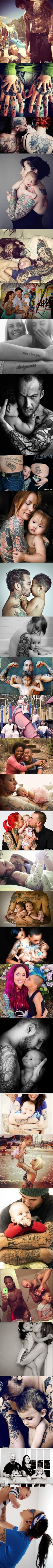 Having tattoos or piercings doesnt make you a bad parent, these pictures touched my heart ♡