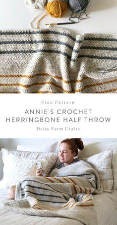 Kostenlose Anleitung - Annie s Crochet Herringbone Half Throw crochet anleitung annie crochet herringbone kostenlose throw Beau Crochet, Stitch Crochet, Annie's Crochet, Crochet Gifts, Crochet Stitches, Crotchet, Mandala Crochet, Finger Crochet, Crochet Daisy