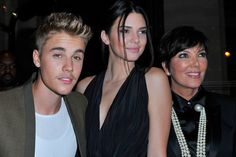 Pin for Later: Did You Get the Memo to Wear All Black to Paris's Biggest Fashion Party? Justin Bieber and Kendall and Kris Jenner