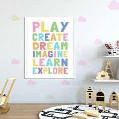 Kids Playroom Printable Art, Play Create Imagine, Kids Wall Art Prints, Pastel Playroom Decor, Toy R Playroom Quotes, Playroom Signs, Playroom Decor, Nursery Wall Decor, Kids Prints, Wall Art Prints, Art Wall Kids, Art For Kids, Printing Websites