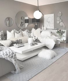 About Gorgeous White Room, White and Silver Living Room, White SeC - myriadinspira Glamour Living Room, Silver Living Room, Living Room Grey, Home Living Room, Living Room Designs, Living Room Decor Cozy, Elegant Living Room, Room Ideas Bedroom, Bedroom Decor