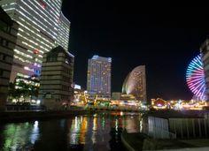 Minato Mirai night lights Yokohama, Japan