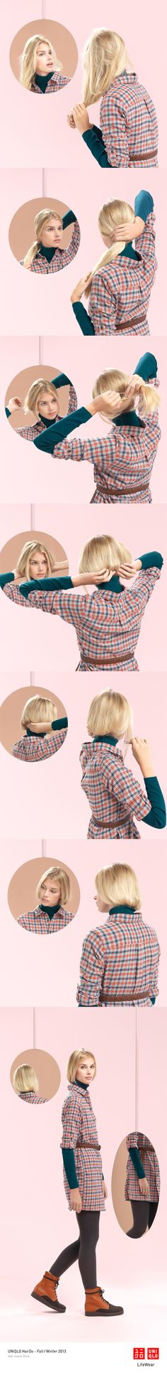 """THE EMMA BOB"" : This classic bob is great with a dress and some leggings. Click the image for DIY instructions! #Bob #Hair #DIY #Hairstyle #UNIQLO #HairDo"