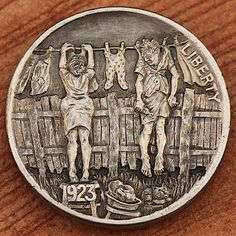 Aleksey Saburov - Hang Out to Dry 2013 3d Cnc, Banner, Hobo Nickel, Coin Art, Old Money, Metal Detecting, Us Coins, Coin Collecting, Monet