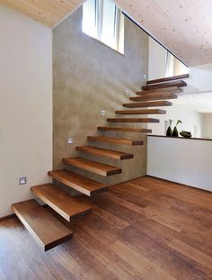 41 Ideas Floating Stairs Exterior Railings For 2019 Staircase Design Modern, Home Stairs Design, Modern Stairs, Interior Stairs, Home Interior Design, House Design, House Staircase, Media Room Design, Concrete Stairs