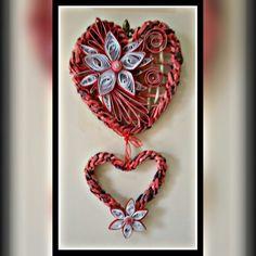Cuori con treccia e decorazione quilling  Rosa Maietta