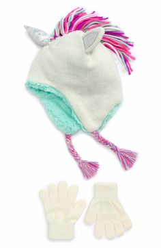 0c42f04e000 Main Image - Capelli of New York Unicorn Knit Hat   Gloves Set (Little  Girls   Big Girls)