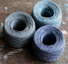 Linen yarn thread  three balls  blue dark grey by namolio on Etsy, $17.00