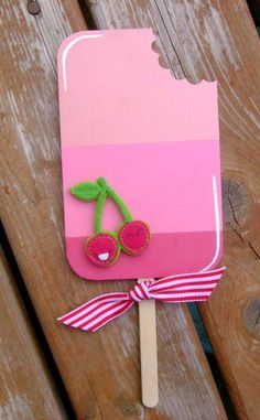 #popsicle #card- I can do this with a paint chip! Love the cherry accents and the bite taken out of the popsicle!
