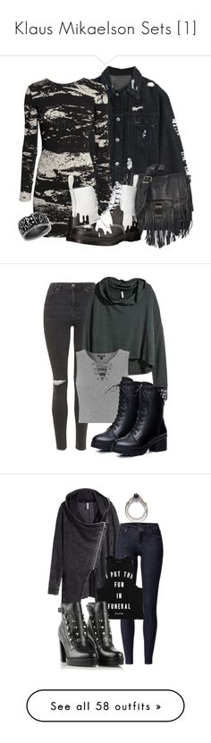 """""""Klaus Mikaelson Sets [1]"""" by grandmasfood ❤ liked on Polyvore featuring H&M, Proenza Schouler, Dr. Martens, casual, vampirediaries, Klaus, klausmikaelson, Topshop, Hannah and Kat&Bee"""