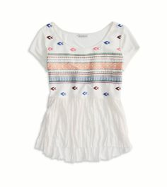 #AE #Embroidered Crinkle #T-Shirt