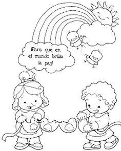 Educacion Infantil: DIA DE LA PAZ Elementary Spanish, Diy Clothes Refashion, Coloring Sheets, Kindergarten, Clip Art, Album, Cartoon, Learning, Projects