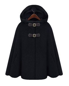 Fashion Hooded Solid Color Covered Button Embellished Cape-Style Women's Coat, BLACK, L in Jackets & Coats | DressLily.com