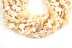 10mm Smooth Pearly White Cream Abalone Mother of Pearl Coin Shaped Beads -  (Approx be763837d18