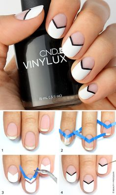 Best Gel Nail Designs - Black and White Chevron Nails With Gel Polish - Beautiful Gel Nail Designs And Pictures Of Manicures And Nailart To Give You Some Awesome Fashion Style. Step By Step Tutorials And Tips And Tricks And Ideas For Shape And Colour. Black And White Nail Designs, Black White Nails, Nagellack Design, Negative Space Nails, Gel Nagel Design, Chevron Nails, Chevron Nail Designs, Aztec Nails, Nail Swag