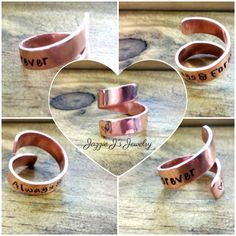 Personalized Copper Ring, Hand Stamped Ring, Adjustable Ring, Custom Twisted Ring, Copper Wrap Ring, Anniversary Gift, Add Personalization by JazzieJsJewelry on Etsy