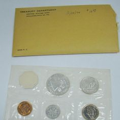 US Silver Mint Coin Set Flat Pack Original Envelope 1963 Proof Set With COA