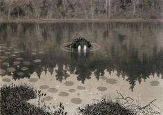 Nøkken, (The Water Spirit) - Theodor Kittelsen, Norwegian painter and illustrator Art And Illustration, Fantasy Kunst, Fantasy Art, Theodore Kittelsen, Black Metal, Arte Obscura, Norse Mythology, Russian Mythology, Monster
