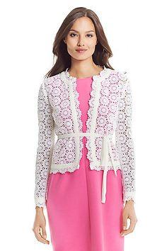 DVF Kirsten Cotton Lace Jacket in White