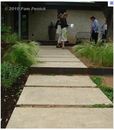 Large square concrete stepping stones.