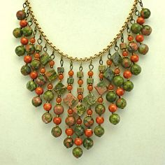 Statement Bib necklace / Unakite Ceramic Red by EarthsHousehold, $35.00