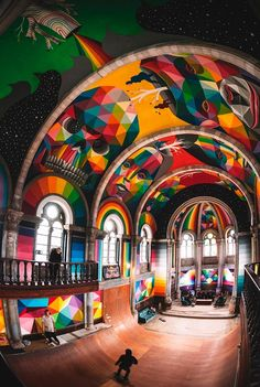 This amazing project entitled Kaos Temple was conducted in an old Spanish church in the city of llanera, transformed this year into a skate park by La Iglesia Skate. This monumental and colorful artwork by the artist Okuda was designed in collaboration with Red Bull Spain.