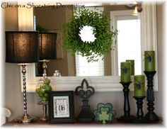 Decorating On a Shoe String | The green wreath, apples and candles @ Chic on a Shoestring Decorating