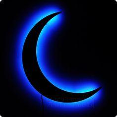Crescent Moon Night Light  Blue Lighted Wall Art by LuxChroma, $60.00