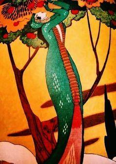 """Vintage Pochoir (stencil process) Published 1913 Art Deco Poster, Paris for""""La Gazette du Bon Ton…"""""""